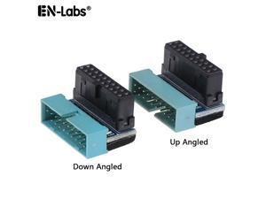 EnLabs U320PINAD90D USB 3.0 Motherboard 20pin Header Male to Female Extension Adpaters UP & Down Angled 90 Degre Adpater Included ,USB3.0 19pin/20pin Extender Connector for Motherboard Mainboard