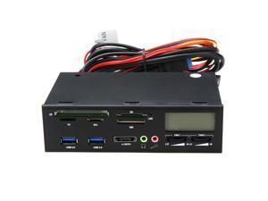 "5.25"" Media Dashboard Multi-function USB 2.0 SD,CF,MS,XD TF M2 Card Reader w/ eSATA,2x USB3.0,fan speed controller,LED display"
