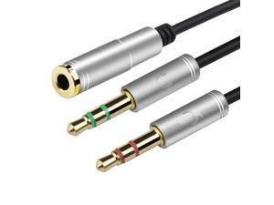 3.5mm Headphone Stereo Audio Mic Y Splitter,Dual 3.5 mm  Plug (Audio + Microphone) to 4 Pole Comob Jack Aux Adapter for 4 pin 3.5mm Plug Smartphone Earphone