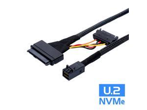 Internal 12G HD Mini SAS SFF-8643 to U.2 SFF-8639 NVMe PCIe SSD Adapter Cable with SATA Power for Mainboard Intel SSD 750 p3600 p3700 U2 SFF8639 - 0.5 Meter