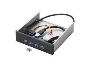 "4 Port USB 3.0 5.25"" Internal CD-ROM Bay Front Panel USB Hub,4 X USB 3.0 Type A Female to Motherboard USB 20 pin Splitter Adapter w/ 5.25 inch Metal Bracket"