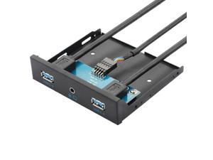 "3.5"" Internal Floppy Bay Front Panel Motherboard Mainboard USB 3.0 20Pin Header to 2 Port USB 3.0 Female Hub Adapter Bracket w/ 4-Pole 3.5mm Jack HD Audio Mic Connector"
