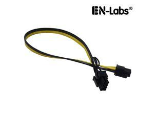EnLabs PCIE6P28PMM50CM 1.64ft 18AWG PCIe 6pin to 8pin(6+2) Male to Male PCI-E Power Cable for GPU Power Supply Breakout Board Adapter for Ethereum Mining ETH ZEC - Compatible DPS-800GB,DPS-1200 etc