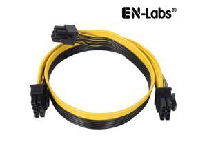 EnLabs PCIE6P28PSPL6020 PCIe 6pin to 8pin(6+2) Male to Male PCI-E Power Splitter Cable (60CM+20CM) for GPU Power Supply Breakout Board Adapter for Ethereum Mining ETH ZEC