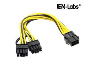 EnLabs PCIE6PSPL8P15CM 6 inch Dual PCIe 8pin(6+2)  to 6pin PCI-E Power Adapter Cable for GPU Power Supply,PCIe 6-pin to 2 x PCIe 8pin Ethereum Mining Video Card to PSU Power Cable