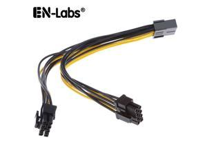 EnLabs PCIE8PSPL8P20CM 8 inch PCIe 8pin to 2 x 8pin(6+2) Male to Female PCI-E Power Splitter Cable for GPU Power Supply,Dual PCIe 8pin Ethereum Mining Video Card to PSU Power Cable