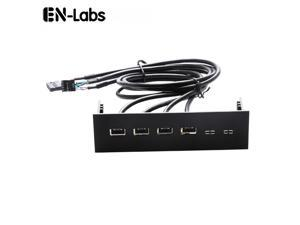 EnLabs FP525U24PL PC computer 5.25 inch 4 Ports USB 2.0 front panel USB Port Hub Splitter 60CM Dual 2 x USB 2.0 Type A Female to 9pin Cables -Black Plastic