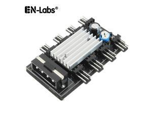 Enlabs TX3HUB8AUCOD 8 Channel 3 pin Fan Automatic Speed Controller w/ rubber backed Tap,Automatic Temperature Controller for 3pin Fan,Power by Molex