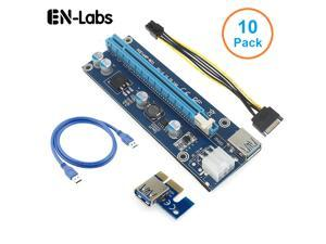 10 Pack ITHOO PCIe 1x to 16x PCI Express Extender Powered Riser Card,Ethereum Mining ETH GPU Riser Adapter Power by PCIe 6pin w/ 60cm USB 3.0 Extension Cable& 6-Pin PCI-E to SATA  Power Cable