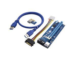 Version 8 Molex 4pin Powered PCI-E PCI Express Extender Riser Cable- VER 006S - 1X to 16X PCIE USB 3.0 Adapter Card w/ 2ft USB Extension Cable - GPU Graphic Card Crypto Currency Mining