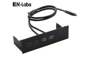 EnLabs FP525U32PL PC Case 5.25 inch front panel 2 Ports USB 3.0 USB Hub,60CM 2 x USB 3.0 Type A Female to Motherboard 20pin Splitter Cables -Black Plastic