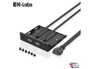 EnLabs FP35U32M PC Case 3.5-inch front panel 2 Ports USB 3.0 USB Hub,60CM 2 x USB 3.0 Type A Female to Motherboard 20pin Splitter Cables -Black Metal