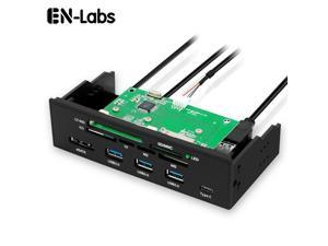 EnLabs U2CR5253U3CESATA 5.25 inch PC Case Front panel All-in-1 Multifunction USB 2.0 Card Reader w/ 3 Port USB3.0,Type-C, eSATA ,Support MD,SD/MMC,XD,TF,M2,MS,64G CF Card