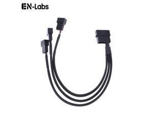 EnLabs LP423TX425CM  10 inch Black Sleeved 4pin IDE Molex to 3 Ports 3Pin/4Pin PWM Fan Power Splitter Adapter Cable - 12V DC Only