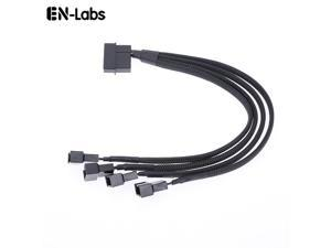 EnLabs LP424TX425CM  10 inch Black Sleeved 4pin IDE Molex to 4 Ports 3Pin/4Pin PWM Fan Power Splitter Adapter Cable - 12V DC Only