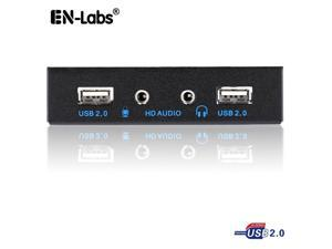 EnLabs FT35U22AM PC Case 3.5 inch front panel 2 Ports USB 2.0 USB Hub w/ HD Audio Output & Microphone,2ft USB 9pin to 2x USB 2.0 Splitter w/ Stereo Audio Mic