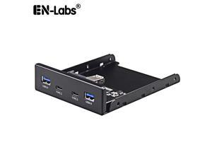 Enlabs FP35U32UC2M 2 x USB 3.1 Type C 5Gb/s & USB 3.0 PC Case 3.5 inch Floppy Bay Front Panel 4 Ports USB Hub  w/ SATA Power Connector (USB 3.0 20pin  Adapter Cable)