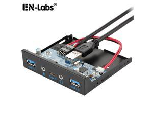Enlabs FP35U32UCAM USB 3.1 Type C 5Gb/s & 2 x USB 3.0 PC Case 3.5 inch Floppy Bay Front Panel 3 Ports USB Hub w/ HD Audio Output & Microphone