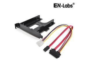 """EnLabs PCIBR25SSDKIT PCI Slot 2.5"""" HDD/SSD Mounting Bracket w/ 40CM SATA Data & Power Combo Cable - 2.5"""" HDD to PCI Slot Rear Panel  Hard Drive Adapters - Black"""