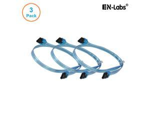 EnLabs 3PKSATAIII24BL 3 Pack SATA 3.0 6Gbps Straight HDD SDD Data Cable w/ Locking Latch - UV Blue - 24 inch