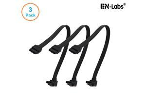 EnLabs 3PKSATAIII10BKA 3 Pack SATA 3.0 6Gbps Straight to 90 Degree Right-Angle HDD SDD Data Cable w/ Locking Latch - Black - 10 inch