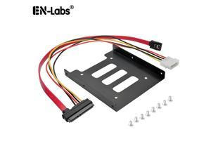 """EnLabs 25TO35MAKIT 2.5"""" to 3.5"""" SSD HDD Metal Mounting Bracket Adapter Hard Drive Holder for PC SSD w/ 1.3ft SATA & Power Combo Cable"""