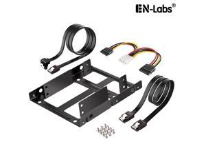 """EnLabs 2X25TO35MAKIT Metal Dual 2.5"""" to 3.5"""" Hard Drive Bay Mounting Bracket w/ SATA Data Cable and Power Adatepr Cable- 2 X 2.5"""" to 3.5"""" HDD / SSD Mounting Bracket Kit - Black"""