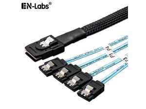 EnLabs SFF80874SATA1M Internal Mini SAS to 4 x SATA Cable (SFF-8087 to SATA Forward Breakout),Mini SAS Host/Controller to 4 SATA Target/Backplane-3.3ft