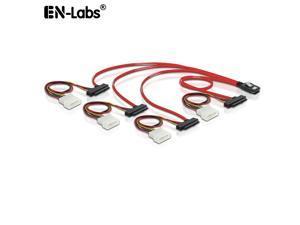 EnLabs SFF80874XSAS84821M Internal Mini SAS SFF-8087 to 4 x SAS 29pin SFF-8482 Cable w/ Molex 4pin Power ,Mini SAS Host/Controller to 4 SAS SFF-8482 Target/Backplane-3.3ft