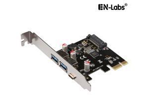EnLabs PCIEU3A2CS USB 3.1 GEN 1(5Gbps)Type-C + 2 USB 3.0 Type-A PCI-e Express Card Desktop PCI Express Add On Card Adapter,Power by SATA