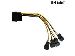 12cm Molex 4pin LP4 to Case cooling Fan 3-pin 3 Multi-Fan Out Power Adapter Converter Cable w/  4x12V output