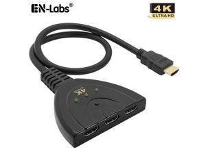 EnLabs HD4K1X3SWPT 3X1 4K2K@30Hz HDMI Switch,3 In 1 Out UHD  4K 2K 2160P@30Hz 1080P@60Hz HDMI Switcher w/ 1.64ft HDMI Pigtail Cable