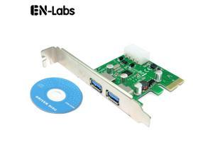 USB PCIe Card, 2 Port USB 3.0 to PCI Express Card Expansion card, PCI-E to USB 3.0 2 Port Hub Controller Adapter w/ Molex 4pin power