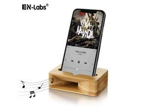 EnLabs Cell Phone Stand with Sound Amplifier, Bamboo Wood Smart Phone Holder Dock, Natural Bamboo Stands for iPhone 7, iPhone 6s, iPhone 6 Plus and Android Smartphones Within 5.5 Inches