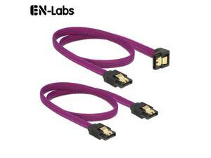Enlabs PRSATA50CM2PKPL Lot of 2 Sleeved SATA III 6Gbps Data Cable w/ Locking Latch - 1x Straight and 1x 90 Degree Angle Cable - 1.64ft - Purple(2pcs/Pack)