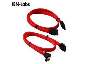 Enlabs PRSATA50CM2PKRD Lot of 2 Sleeved SATA III 6Gbps Data Cable w/ Locking Latch - 1x Straight and 1x 90 Degree Angle Cable - 1.64ft - Red(2pcs/Pack)