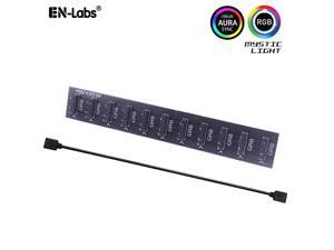 EnLabs 5V 3-pin 10 Ports ARGB AURA 5050 RGB LED Light Strips Splitter Hub to Motherboard for RBW LED Fan Compatible w/ MSI Mystic Light Sync /GIGABYTE RGB FUSION /ASROCK Polychrome
