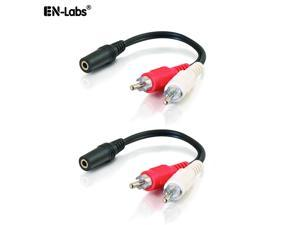 EnLabs 8-Inch 3.5mm Female to 2 x RCA Male - Left/Right Dual 2 RCA Plug to 3.5mm Stereo Jack AUX Y Stereo Splitter Cable, Black - 2 Pack