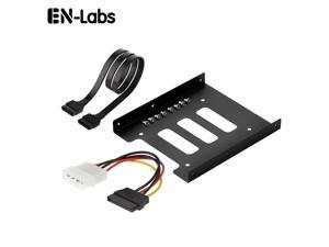 """2.5 to 3.5 SSD Hard Drive Adapter Metal Mounting Bracket Converter w/ 18 """" SATA Data Cable and 6"""" Molex 4-pin to SATA 15-pin Power Cable Combo Kit"""