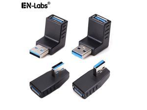 USB 3.0 Adapter Couplers 90 Degree Male to Female Gender Changer Adapter,USB Connector Extender Plug Coupler Extender (Include Left,Right Up,Down Angle Adapter) - 4 Pack