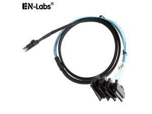 Internal 36 Pin Mini SAS SFF-8087 Host/Controller  to 4x SAS 29Pin SFF-8482 Target/Backplane Hard Disk ,Power by SATA 15pin - 1.64FT / 0.5 meter