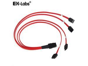 EnLabs Mini SAS to 4 SATA Cable SAS Breakout Cable Mini SAS Male SFF-8087 to 4 SATA Female Cable Multi-Lane Mini SAS Host Internal Cable to Target HDD Hard Drive Splitter Cable - 1.64FT-Red