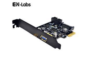 EnLabs PCIEU3ACS20 PCI-e to 4 Ports USB 3.1 GEN 1 (5Gbps)(USB Type-C +USB Type A  w/ Internal 19Pin USB 3.0 Dual Port)  PCI Express Card, Power by 15pin SATA w/ Full-Profile & Low-Profile Bracket