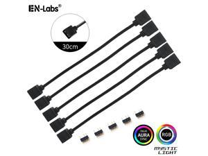 Enlabs 5 Pack 5V 3-Pin RGB Female to Female RBW LED Strip Extension Cable w/ Gender Changer Adapter - 1 Foot