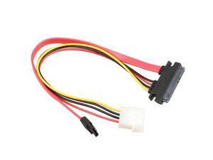 70CM 22 Pin SATA III 6Gbps Data & Power to SATA 7pin Data & Molex 4pin Combo Cable(SATA22Pin TO data+Power) -Red