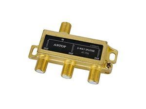 antop low-loss 3 way coaxial splitter for tv antenna and satellite 18k gold-plated chassis 2ghz - 5-2050mhz all port dc power p