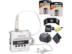 Tascam DR-10L Digital Audio Recorder with Lavalier Mic (White) Standard Bundle