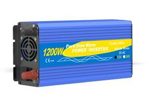 Solinba 1200W/Peak 2500w Car Power Inverter Converter DC12v to AC110v 60Hz
