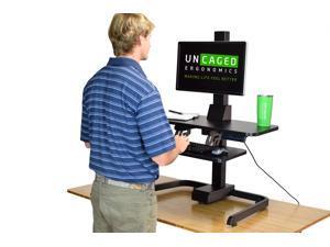 Electric Standing Desk Converter VESA Mount + Keyboard Tray. tall ergonomic motorized adjustable height sit to stand up desktop riser conversion computer work workstation powered