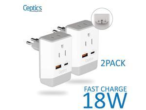 Brazil Travel Adapter | Type N - USB-A & USB-C Ports + 2 USA Outlet (AP-11C-2PK)